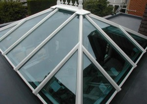 A large glazed orangery roof