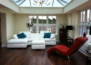 Orangery with laminate flooring and luxury furniture-modern-conservatory