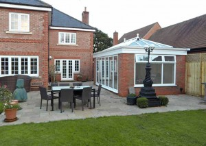 A detached property that leads out onto the patio