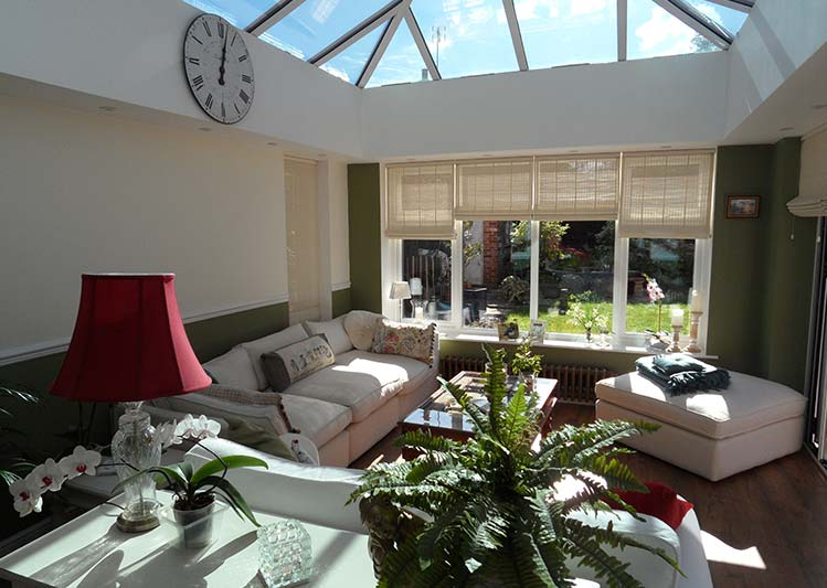 Internal shot of an orangery with chic style-modern-conservatory