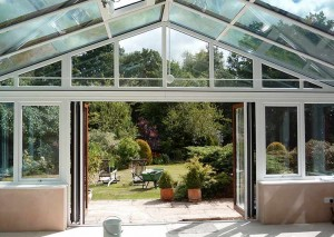 Internal photo of a bespoke conservatory looking out on to the garden