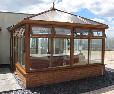 Edwardian conservatory in oak effect