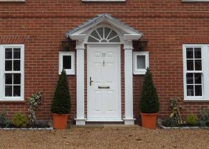 Entrance door in white