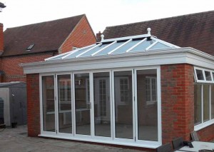 White glass bifolding doors