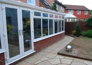 A gull wing conservatory with double doors