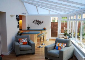 An internal view of a gull-wing modern conservatory