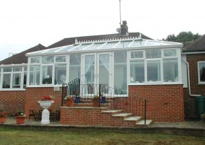 A large Edwardian conservatory in white