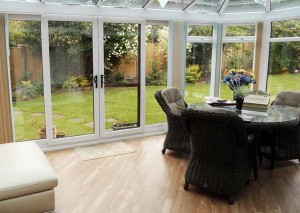 White sliding patio doors leading onto the garden