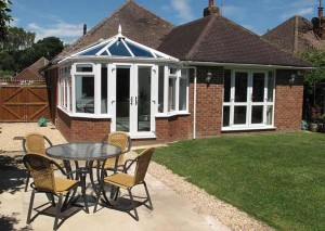 A victorian conservatory in white uPVC