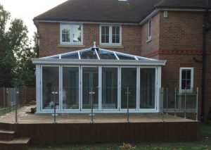 White upvc conservatory installation