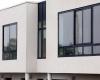 black aluminum windows in modern home