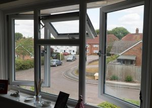 White casement windows interior
